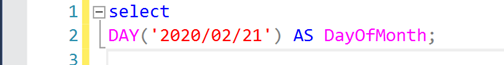 The DAY() function returns an integer value known as the day of the month (from 1 to 31) for a specified date.